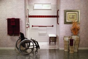 Best Bath Systems - White Barrier Free Shower With Red Accents With Wheelchair